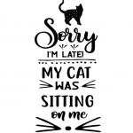 www.themisscat.pl THE MISS CAT naklejka z kotem 15×30 Sorry im late my cat was sittin on me