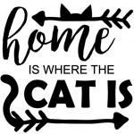 www.themisscat.pl THE MISS CAT naklejka z kotem 30×30 home is where the CAT IS