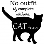 www.themisscat.pl THE MISS CAT naklejka z kotem 30×30 no outfit is complete without CAT hair