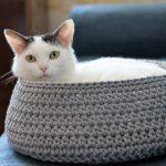 www.themisscat.pl THE MISS CAT legowisko dla kota cat bed cat basket dog bed dog basket COTTON DREAMER light grey z logiem