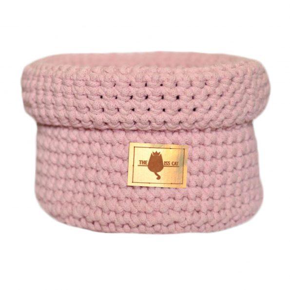 www.themisscat.pl THE MISS CAT koszyk na zabawki dla kota cat blanket dog blanket cotton playbox light pink