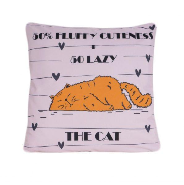 www.themisscat.pl THE MISS CAT poduszka z kotem 50 % Fluffy cuteness cat pillow cat przód