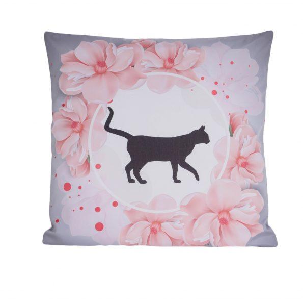 www.themisscat.pl THE MISS CAT poduszka z kotem cat pillow Dom bez kota jest tylko mieszkaniem przód
