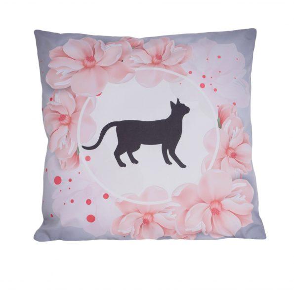 www.themisscat.pl THE MISS CAT poduszka z kotem cat pillow Najmarniejszy kot jest arcydziełem przód bez loga