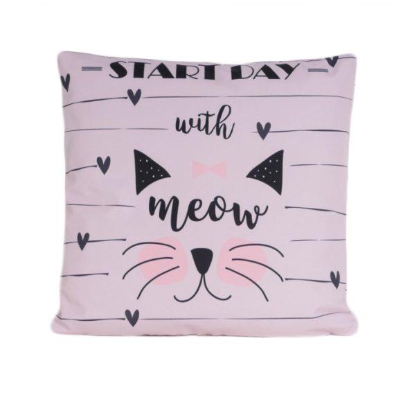 www.themisscat.pl THE MISS CAT poduszka z kotem start day with cat pillow cat przód