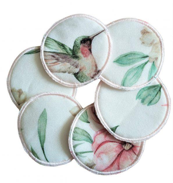 @ waciki kosmetyczne wielorazowe bambusowe kolibry i kwiaty
