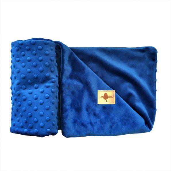 kocyk dla psa kota minky royal blue kobaltowy elegancki gruby ciepły-01