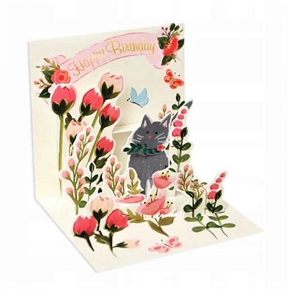 Kot w ogrodzie, MINI kartka POPUP 3d KOTKI na URODZINY na Prezent (1)
