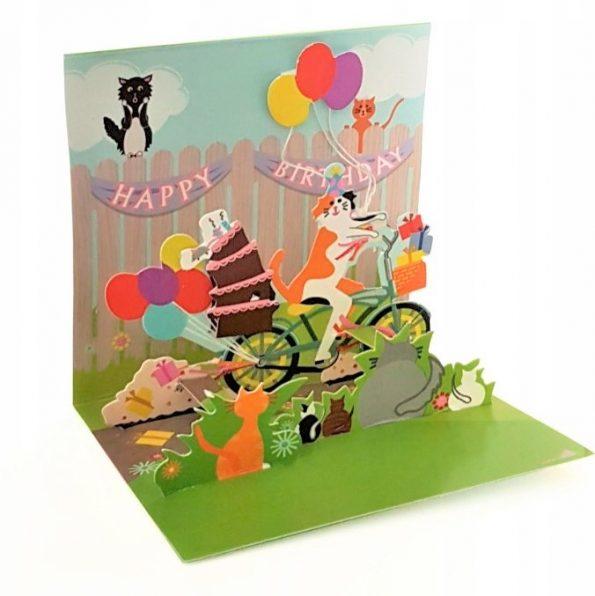 Kot wiezie tort, MINI kartka POPUP 3d KOTKI na URODZINY na Prezent (1)
