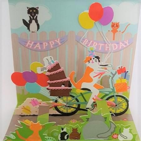 Kot wiezie tort, MINI kartka POPUP 3d KOTKI na URODZINY na Prezent (2)