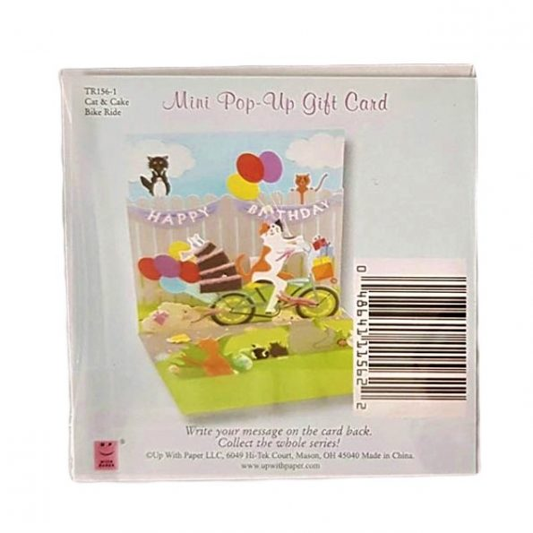 Kot wiezie tort, MINI kartka POPUP 3d KOTKI na URODZINY na Prezent (5)