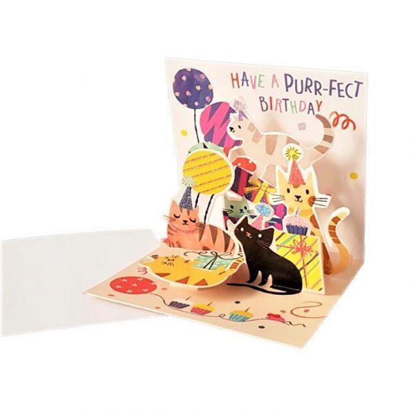 Koty na imprezie, MINI kartka POPUP 3d KOTKI na URODZINY na Prezent (3)